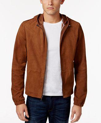Michael Kors Men's Suede Hoodie Jacket - Coats & Jackets - Men ...