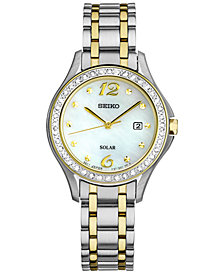 Seiko Women's Solar Two-Tone Stainless Steel Bracelet Watch 29mm SUT312