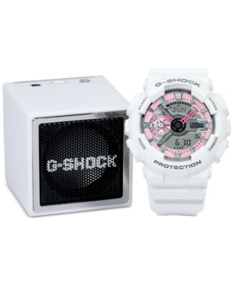 Image of G-Shock Women's Analog-Digital S-Series White Resin Strap Watch & Bluetooth Speaker Gift Set 46x49mm