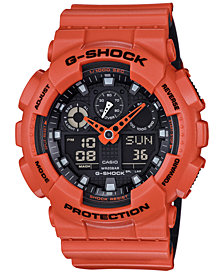G-Shock Men's Analog-Digital Orange Resin Strap Watch 51x55mm GA-100L-4A