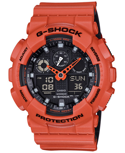 G-Shock Men's Analog-Digital Orange Resin Strap Watch 51x55mm GA-100L-4A