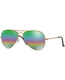 Ray-Ban ORIGINAL AVIATOR RAINBOW MIRRORED Sunglasses, RB3025 58