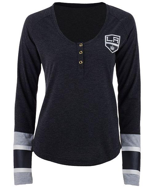 Reebok Women's Los Angeles Kings Stripe Henley Long Sleeve T-Shirt