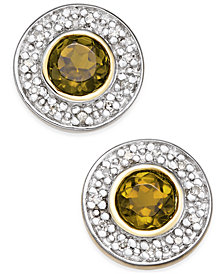 Smoky Quartz (1/2 ct. t.w.) and Diamond Accent Stud Earrings in 14k Gold and Rhodium Plate