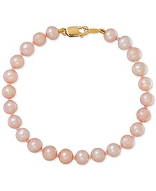 Children's Pink Cultured Freshwater Pearl (4-1/2mm) Bracelet in 14k Yellow gold