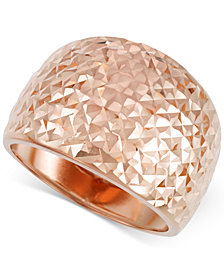 Italian Gold Textured Wide Ring in 14k Rose Gold