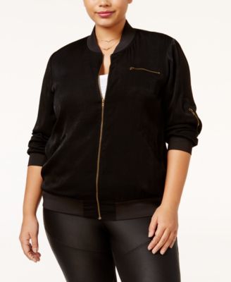 Monteau Trendy Plus Size Satin Bomber Jacket
