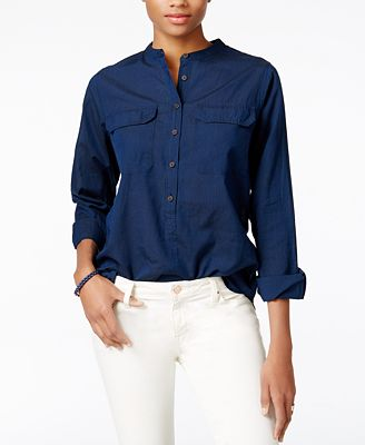 Tommy Hilfiger Band-Collar Shirt, Only at Macy's