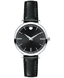 Movado Women's Swiss Ultra Slim Black Leather Strap Watch 28mm 0607094