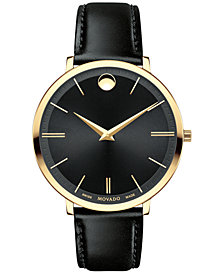 Movado Women's Swiss Ultra Slim Black Leather Strap Watch 35mm 0607091