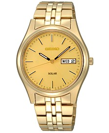 Seiko Watch, Men's Solar Champagne Gold-Tone Bracelet 37mm SNE036