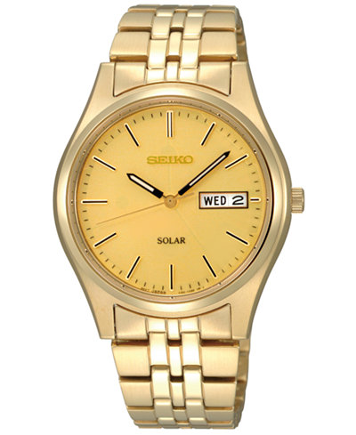 seiko watch men s solar champagne gold tone bracelet 37mm sne036 seiko watch men s solar champagne gold tone bracelet 37mm sne036