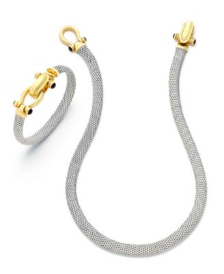 Horseshoe Bangle Bracelet with Black Spinel Accents in Sterling Silver and 14k Gold over Silver