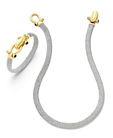 Horseshoe Necklace and Bangle Set in 14k Gold over Sterling Silver