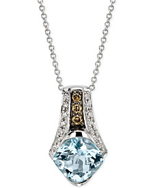 Le Vian® Chocolatier Aquamarine (1-3/8 ct. t.w.) and Diamond (1/8 ct. t.w.) Pendant Necklace in 14k White Gold