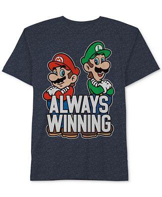 Nintendo Always Winning Mario & Luigi T Shirt Big Boys 8