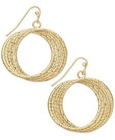 "Thalia Sodi Medium 1.5"" Gold-Tone Textured Multi-Row Drop Hoop Earrings, Created for Macy's"