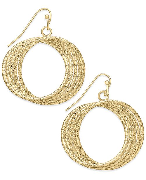 e42d62f5feb1d Medium 1.5 Gold-Tone Textured Multi-Row Drop Hoop Earrings, Created for  Macy's