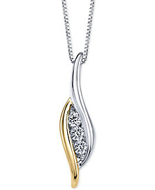 Sirena Three-Stone Diamond Two-Tone Pendant Necklace (1/4 ct. t.w.) in 14k Gold and White Gold