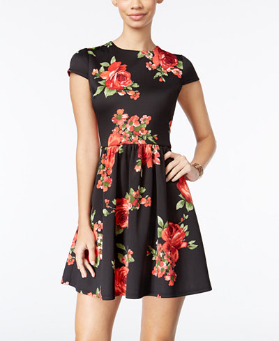B Darlin Juniors' Printed Fit & Flare Dress