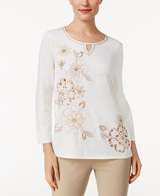 Alfred dunner just peachy embellished sweater sweaters for Alfred dunner wedding dresses