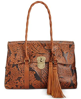 Patricia Nash Burnished Tooled Lace Vienna Satchel