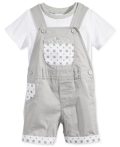 First Impressions 2-Pc. T-Shirt & Geo-Print Shortall Set, Baby Boys (0-24 months), Only at Macy's