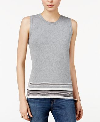 Tommy Hilfiger Striped-Hem Sweater, Only at Macy's