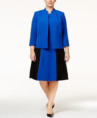 Kasper Plus Size Stand-Collar Jacket & A-Line Dress