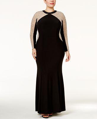 Xscape Plus Size Beaded Illusion Hourglass Gown - Dresses - Women ...
