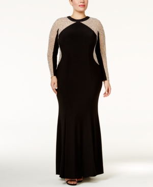 Vintage Evening Dresses and Formal Evening Gowns Xscape Plus Size Beaded Illusion Hourglass Gown $279.00 AT vintagedancer.com