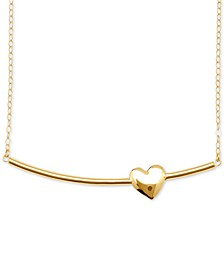 Heart Bar Pendant Necklace in 10k Gold