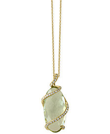 EFFY® Green Amethyst (7-1/6 ct. t.w.) and Diamond (1/8 ct. t.w.) Pendant Necklace in 14k Gold