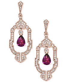 EFFY® Rhodolite Garnet (1-1/2 ct. t.w.) and Diamond (1/2 ct. t.w.) Drop Earrings in 14k Rose Gold