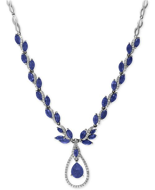 EFFY Collection EFFY® Royalé Bleu Sapphire (10-1/2 ct. t.w.) and Diamond (9/10 ct. t.w.) Fancy Teardrop Statement Necklace in 14k White Gold, Created for Macy's