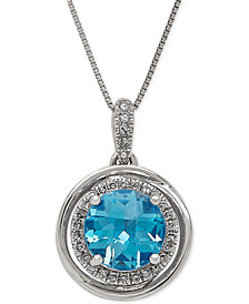 Swiss Blue Topaz (2-1/4 ct. t.w.) and Diamond (1/8 ct. t.w.) Pendant Necklace in 14k White Gold