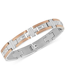 Men's Diamond Two-Tone Bracelet (1/10 ct. t.w.) in Stainless Steel and Rose Gold Color Ion-Plated Stainless Steel