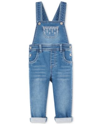 Image of First Impressions Embroidered Denim Overall, Baby Girls (0-24 months), Created for Macy's