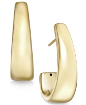 J-Hoop Earrings in 14k Gold