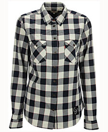 Levi's Women's Houston Texans Plaid Button Up Woven Shirt