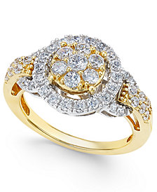 Diamond Two-Tone Ring (1 ct. t.w.) in 14k Gold and White Gold