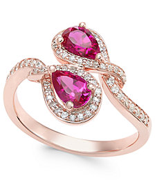 Certified Ruby (1 ct. t.w.) and Diamond (1/4 ct. t.w.) Teardrop Bypass Ring in 14k Rose Gold