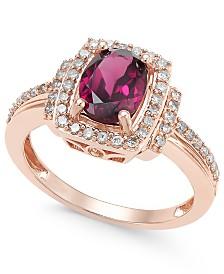 Blue Topaz (1-1/3 ct. t.w.) & Diamond (1/3 ct. t.w.) Ring in 14k Rose Gold (Also available in Rhodolite Garnet)