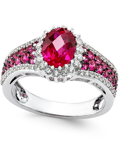 Certified Ruby (2-1/2 ct. t.w.) and Diamond (3/8 ct. t.w.) Ring in 14k White Gold