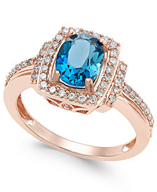 Blue Topaz (1-1/3 ct. t.w.) & Diamond (1/3 ct. t.w.) Ring in 14k Rose Gold