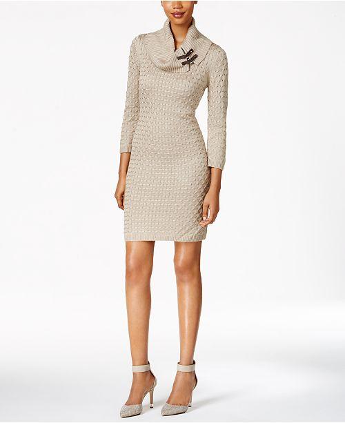Calvin Klein Buckled Cowl-Neck Sweater Dress