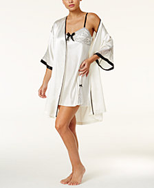 Thalia Sodi Lace And Satin Bridal Wrap Robe & Chemise Separates, Created for Macy's