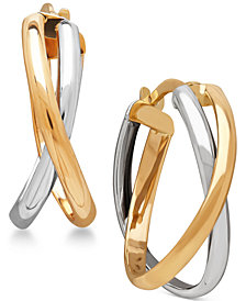Two-Tone Overlap Hoop Earrings in 14k White and Yellow Gold