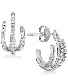 Diamond Three-Row Earrings (1/3 ct. t.w.) in Sterling Silver