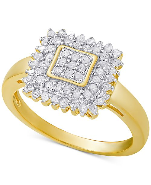 Victoria Townsend Diamond Square Ring (1/2 ct. t.w.) in Sterling Silver or 18k Gold-Plated Sterling Silver
